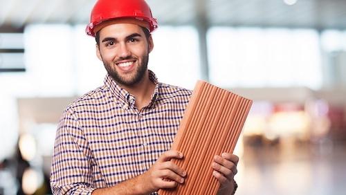 worker man with brick